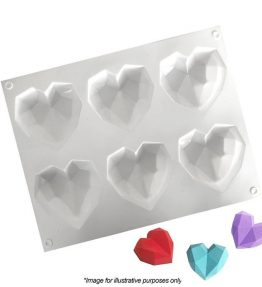 3D Geo Hearts Silicone Mould